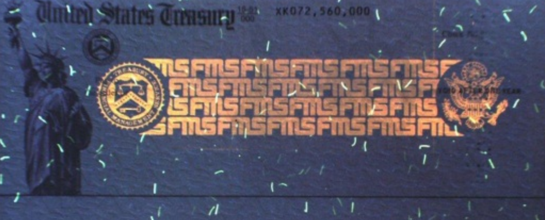 treasury check ultraviolet overprinting