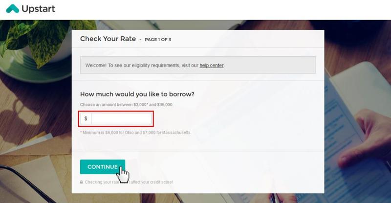 upstart apply for a loan