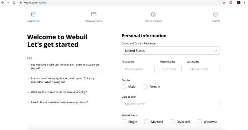 Webull Review - Signup