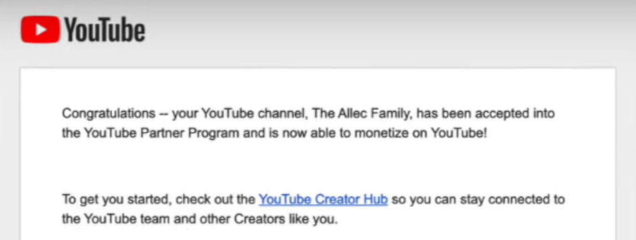 youtube monetization email